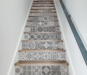 Vintage Merdiven Çıkartmalar Duvar Kağıdı Geometrik Desen Kendinden Yapışkanlı Merdiven Sticker Siyah ve Beyaz Su Geçirmez Çıkartmalar eski ev dekor