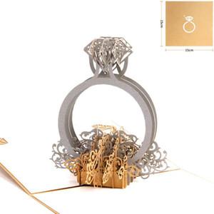 Gold Laser Cut 3d Ring Pop-up Hochzeitseinladungen Romantische Handmade Valentinstag für Liebhaber Postkarte Gruß Geschenkkarte