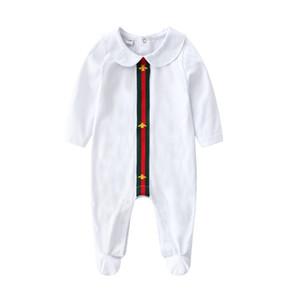 Outono bebê Menina Designer Romper Infantil Macacão De Algodão Crianças Dos Desenhos Animados Stripe Onesie Recém-nascidos Stripe Manga Comprida Criança Bodysuit Roupas Y444