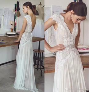 Lihi Hod Boho mariage Robes de mariée 2020 Bohème avec Cap Robes manches et col en V Jupe plissée élégant Backless Robes de mariée lombo