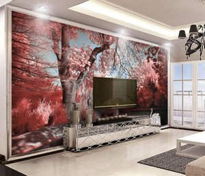 Custom 3D Wallpaper Painting Home Decor Wall Murals Living Room Dormitorio Brick Wallpaper Forest lake water swan Photo Wallpaper 3D