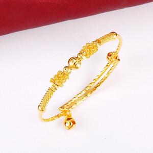 MGFam (101BA) Beads Bell Brazaletes y pulseras para bebés, niñas y niños (ajustados) Joyería de moda Chapado en oro puro de 24K