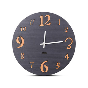 European Style Silent Vintage Wooden Round Wall Clocks Creative Antique Silent Hanging Wood Watch Living Room Home Decor 12 Inch