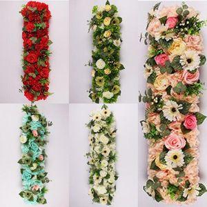 25 * 100cm Blumen-Hochzeit Straße führen Blumen Lange Tischdekoration Blumen-Bogen Türsturz Seide Hochzeit Partei Kulissen Dekoration Rose