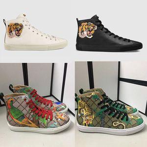 Homens Sapatilhas Designer high-top sneaker Impresso botas de couro genuíno com raiva gato tigre dragão sapatilha para homens mulheres tamanho 35-45