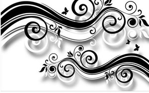 Black and white modern minimalistic abstract flower background wall 3d murals wallpaper for living room