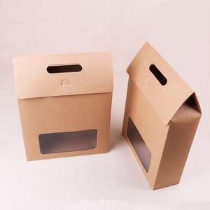 Büyük boy Kraft Kağıt Kutusu Hediye Paketleme Çanta Craft Ekmek Çerezler Bisküvi Paket Çanta Düğün Parti Iyilik LX0072