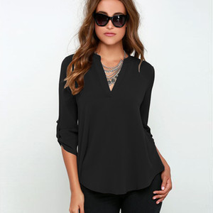 Wholesale- Women Summer Style Chiffon Blouses Shirts Lady Girls Casual Long Sleeve V-Neck Blusas S-6XL Plus Size DF1071