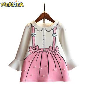 Menoea 2018 Nuevo Otoño Vestido de Moda para Niñas Vestidos de Princesa Ropa para Niños Ropa de Manga Larga Llamarada Linda Manga Larga