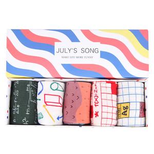 Nueva llegada Happy Socks Mujeres Calcetines Crazy Cute Art Funny Socks Sushi Donuts Marca Food Dog Pug Fox Box