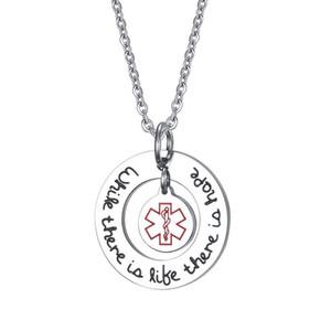 Exklusive Medical Alert ID Halsketten-Anhänger für Frauen-Schmucksachen 25MM Titanium Edelstahl-runde Halskette für Frauen