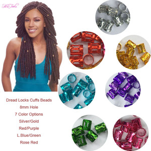 Poignets 100 Pcs / Lot #Golden #Silver Perles Dreadlock multicolores Réglables Cheveux Tresses Clip Cuff 8MM Trou Micro Anneau Perles