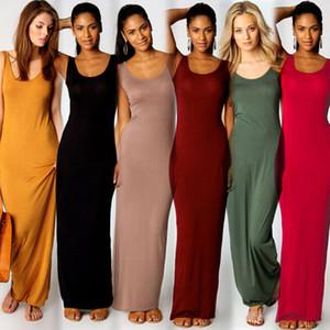 Frauen-langes Trägershell-Sommer-Süßigkeit-Farben-15 Farben-reizvolles dünnes passendes bodycon Kleid-Sleeveless O-Ansatz Strand-unten Kleid