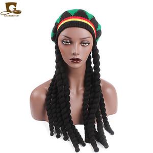 새 캐주얼 남성 여성 Rasta 니트 모자 멋진 드레스 파티 히피 베레 Dreadlocks 가발 자메이카 밥 말리 모자
