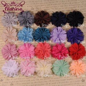 Nishine macia Ruffuled bailarina Chiffon Pétala Flores para Meninas Headbands DIY Chiffon Flores For Children Headwear