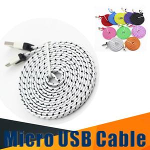 2M 6FT Braid Plano Noodle Micro / Tipo de cabo C USB Para Samsung Galaxy s10 S9 s9plus Note8 sincronização de dados de carregamento adaptador de cabo cabo de telefone Android