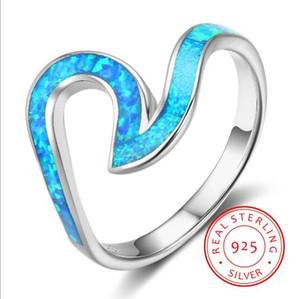 여자를위한 진짜 순수한 925 스털링 실버 오션 블루 오팔 웨이브 모양의 손가락 반지 여성 형상 크기 반지