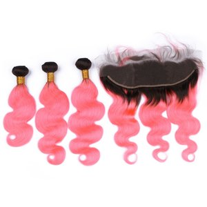 Rosa Ombre Virgin Brasiliana Body Wave Bundle offerte 3Pcs con chiusura frontale in pizzo 13x4 Dark Root # 1B / Pink Ombre capelli umani tesse