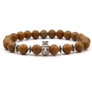 Natural Stone Armband Lion Owl Leopard Buddha-Kopf-Schädel-Charme-Armband-Holz-Stein-Korn-Armband