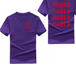 West Pablo T Shirt Men I Feel Like Пабло Печать с коротким рукавом Анти Сезон 3 Футболка Hip Hop Club Social Рэпер Tee Tops