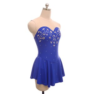 Jewel Neck Latest Children's Training Dress On Ice Fashion Beaded Adult Royal Blue Dress Wholesale Price Short Length