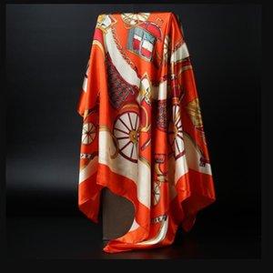 90 cm * 90 cm 2018 Gran Tamaño Bufanda Cuadrada de Seda Marca de Moda de Alta Calidad Imitado Bufandas de Satén de Seda Poliéster Hijab Diseño de Marca