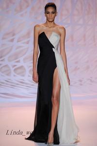 Бесплатная доставка Zuhair Murad вечернее платье модный сексуальный V-образным вырезом спереди с высоким разрезом шифон длинное вечернее платье