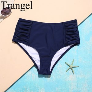 Trangel 2018 Two Piece Separates Swim Short Plants mi-taille maillot de bain Deep Blue Bikini Bottoms Maillots de bain Femmes Beach Wear