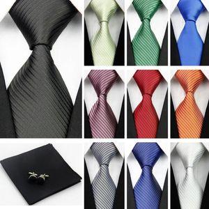 Accessoires Krawatten für Männer Solide Streifenmuster Business Seidenkrawatte Sets Hanky Taschentuch Manschettenknöpfe Rot Schwarz Krawatte Gravatas