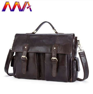 MVA için 100% hakiki deri erkek evrak çantası moda erkek omuz çantası erkek çanta inek deri dizüstü bilgisayar çantaları ile