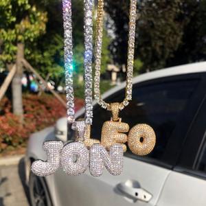 A-Z 0-9 Hip Hop Name Bubble Letter Anhänger Halskette Micro Cubic Zircon mit Seilkette und Tennis Chian