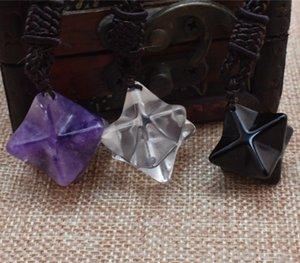 Ciondolo in cristallo 100% naturale Ciondolo in cristallo Merkaba Bianco ossidiana viola Multicolor
