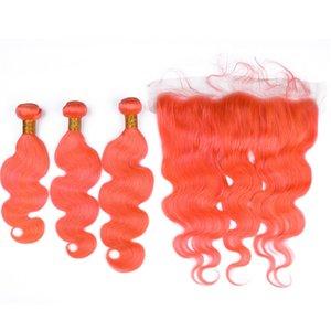 Farbige Orange Jungfrau-indisches menschliches Haar Körperwelle Schussverlängerungen mit Frontal Pure Orange 13x4 Lace Frontal Closure mit Weave Bundles
