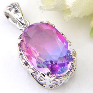 12 pcs lot Luckyshine 925 sterling silver exquisite Vintage Rainbow Bi-Colored Tourmaline Gemstone Silver Necklace Pendants