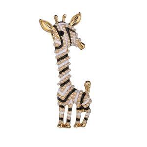 Emaye Inci Zürafa Kadınlar Kız Corsages Broşlar Sevimli Hayvan Broş Pin Moda Takı Beyaz Kırmızı Hediye Zarif Broches