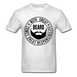 With Great Beard Comes Great Responbility Camiseta para hombre O cuello Camisetas Hombre Low Steampunk Imprimir camisetas de manga corta O - cuello
