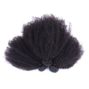 Mongolian Afro Kinky Curly Hair Weave Bundles Natural Color 100% Human Hair Non-Remy Hair Weaving