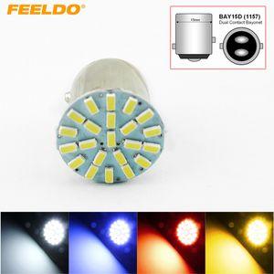 FEELDO 40PCS White Car 1157 BAY15D 3014 Chip 22SMD Auto LED Light Lamp Turn Signal Brake Lights #3682