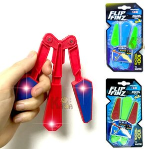 Children Butterfly Plastic Knife Flipper Flip Toys with LED Tricks Master Light Up Finz Toy Endless Addictive Fun Twirl It