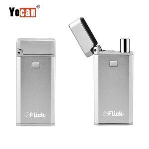 박스 vape mod 2-in-1 흡연 장치 Yocan Flick, 650mah 마이크로 USB 포트 배터리 스타터 키트가있는 오일 및 석영 코일 집중 분무기