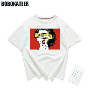 BOBOKATEER Vogue Майка женщины футболка хлопок печати повседневная Белый лето футболка женщины топы Femme девушка мощность Camisetas Mujer 2018