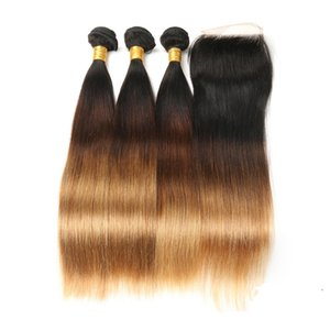 Three Tone Human Hair Weaves With Straight Lace Frontal Closure 1b 4 27 Human Hair Weave Malaysian Virgin Hair With Lace Frontal