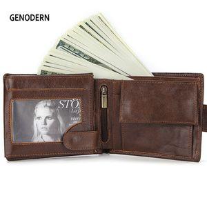 Cartera nueva con hebilla GENODERN para los hombres Carteras de cuero genuino de los hombres Brown Hombre titular de la tarjeta monedero