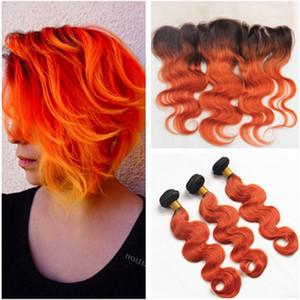 오렌지 옴 브레 페루 인간의 머리카락은 13x4 레이스 앞쪽 클로저 바디 웨이브 # 1B / Orange Ombre 인간 헤어 위브 익스텐션