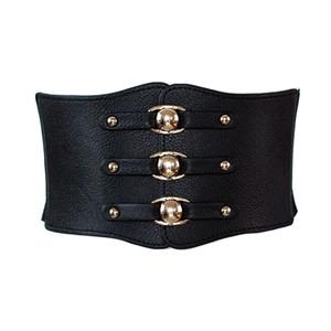 desgin elastic wide Belts for women vintage metal buckle waistband cintos female leather rivet ultra wide belt
