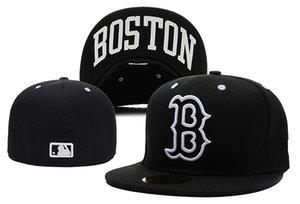 2020 Top Quality Fashion Fan Популярного Red Sox Letter B Flat Монтажн Caps Мужского Спорта Все бейсбольный команда Full Замкнутого Дизайн шапка Размер Кость