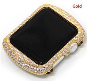 Bling bling metal strass diamante cristal jóias tampa da caixa case compatível para apple watch série 3 series 2 series 1 38mm 42mm