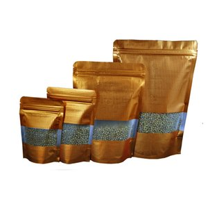 Probeexemplar! Stand Up Gold-Zip-Verschluss-Beutel 8Pcs / Lot Doypack Geprägte Aluminium Foil-Verpackungs-Beutel mit Sichtfenster Mylar Zip Lock Beutel