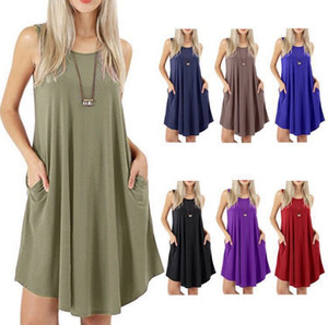 Hot sale women's fashion sleeveless pocket casual tank plus size solid vest swing dress 7 colors