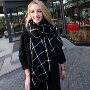 Wholesale Fashion Cashmere Shawl Scarves New Lady Women Men Blanket Scarf Black White Plaid Cozy Checked Tartan Scarf Wraps Shawl